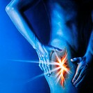 Thigh pain. Artwork of a man holding his thigh in pain. The painful area is shown split open and glowing orange. Leg pain may be caused by cramps in t...