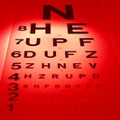 Snellen eye test chart. View of a Snellen eye test chart used for measuring visual acuity. A patient stands a set distance (usually six metres) from t...