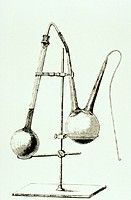 Engraving of the apparatus used by Louis Pasteur (1822-1895) in one of his earliest experiments in the production of a disease free beer. The flask on...