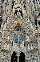 Detail of Sagrada Familia temple by Gaudí. Barcelona. Spain