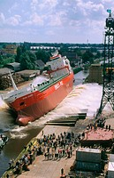 Launch of a ship. Groningen. Netherlands