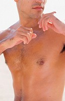 Close up of a man's nude chest