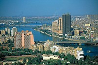 Aerial view of Cairo and the Nile River, Egypt