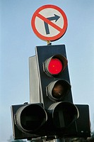 "Traffic lights and ""no right turn"" sign"