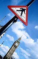 Big Ben and crossing sign. London. England