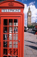 Telephone booth and Big Ben. London. England
