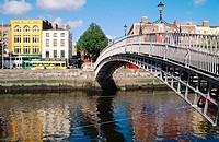 Ha'penny Bridge over Liffey River. Dublin. Ireland