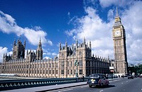 Houses of Parliament (Westminster Palace) and clock tower (Big Ben). London. England