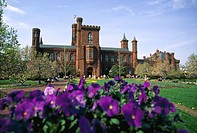 Smithsonian Institution Building ('The Castle', James Renwick Jr., 1855), constructed in the Norman style -a 12th-century combination of late Romanesq...