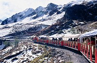 Touristic train &quot;Le petit train d'Artouste&quot;. Pyrenees Mountains National Park (Parc National Pyr&#233;n&#233;es). France