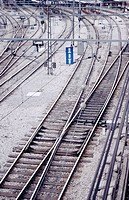 Tracks at El Portillo train station. Zaragoza. Spain