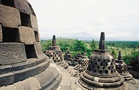 Stupas. Borobudur Temple. Central Java. Indonesia