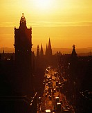 Princes Street at sunset, from Calton Hill, Edinburgh, Scotland