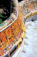 Detail of decoration of the balcony at Güell Park (Gaudí, 1900-1914). Barcelona. Spain