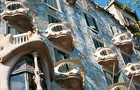Detail of the facade of Batll&#243; House (Gaud&#237;, 1904-1906). Barcelona. Spain