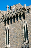 Detail of the facade of Bellesguard (Gaudí, 1900-1902). Barcelona. España