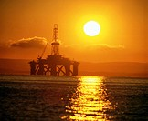 Semi-submersible oil rig. Firth of Forth. Scotland