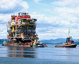 Top structure for oil platform on tow. Firth of Clyde. Scotland