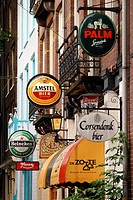 Beer advertisements outside bar. Amsterdam. Holland