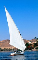 Felucca on Nile River. Aswan. Egypt