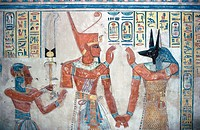Mural paintings at tomb. Deir el-Medineh. Valley of the Kings. West Bank. Luxor. Egypt