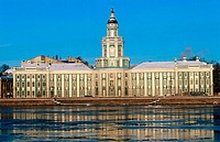 Peter´s the Great´s Kunstkammer (Museum of Anthropology and Etnography of the World) and Neva River. St. Petersburg. Russia