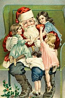 A Merry Christmas-- Santa With Children On His Lap Nostalgia Cards