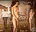 The Man on The Street 1940 Paul Delvaux (b. 1897/Belgian). Muses des Beaux Arts, Liege, Belgium