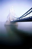 Fog covering a bridge, Tower Bridge, London, England