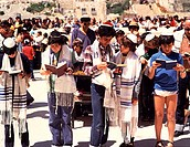 Group of people praying near the Wailing Wall, Jerusalem, Israel