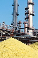 Sulphur at oil refinery. Muskiz. Biscay. Spain