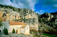 San Bartolomé templar chapel (built 12th century). Cañón del Río Lobos Natural Park. Soria province. Spain