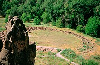 Tyuonyi Ruin in Bandelier National Monument. Nuevo Mexico. USA