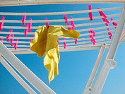 Cloth hanging from a clotheshorse