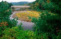 Covered Bridge &amp; Landscape near Dummerston. Vermont. USA