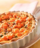 Potato tart with shrimps