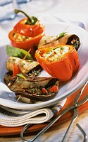 Barbecued aubergine escalope and stuffed peppers