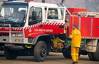 Environment emergency services, fire truck in bushfire area. Australia
