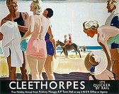 Poster produced for London & North Eastern Railway (LNER) to promote rail travel to Cleethorpes, Lincolnshire. The poster shows some people in swimmin...