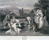 'The Body of a Young Man Taken Out Of The Water Apparently Dead In The Sight Of The Distressed Parents´. Engraving by Robert Pollard, after a painting...