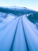 Railway in blurred motion. Kiruna. Lappand. Sweden