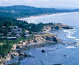 Aerial view of Cape Foulweather, central Oregon coast, USA