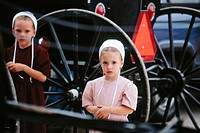 Amish girls at Johnny Appleseed homecoming festival. Apple Creek, Ohio. USA