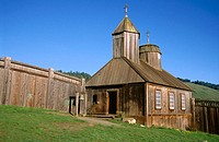 Russian orthodox chapel as reconstructed after fires in 1970 and 1970. Fort Ross State Historic Park. California. USA