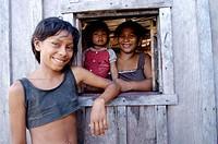 Brazilian family. Negro River, Manaus. Brazil
