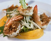 Jumbo prawns with mango and kohlrabi