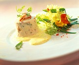 Cold timbale of lobster on lime and saffron sauce