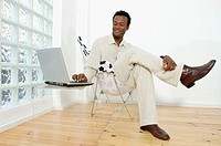Black business man, working, computer