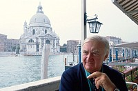 Sir James Stirling, British architect (1926-1992). Photographed in Venice in 1992, Santa María della Salute church in background