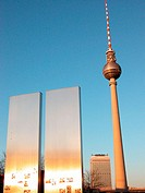 View from Marx and Engels Monument to (Alex) television tower. Berlin. Germany